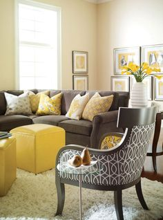 Accents of yellow (yellow chair or ottoman) with navy, cream and yellow accent pillow. Description from pinterest.com. I searched for this on bing.com/images