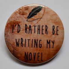 Author Pinback Button Writing Pin Writer Magnet by BohoButtonShop