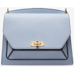 Bally SUZY MEDIUM Women's grained goat leather shoulder bag in ocean... (4,545 PEN) ❤ liked on Polyvore featuring bags, handbags, shoulder bags, goat leather purse, shoulder handbags, chain strap shoulder bag, bally purse and embellished handbags