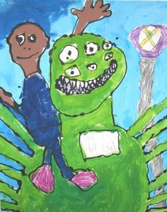 """""""Me and Monster,"""" 2007, by Shawn Curtis of Castleberry Elementary School, Newport. - Never enough EYEBALLS!  Love it!"""
