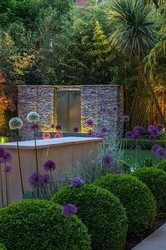"adamchristopherdesign: "" Nice contempoary garden at dusk   adamchristopherdesign.co.uk """
