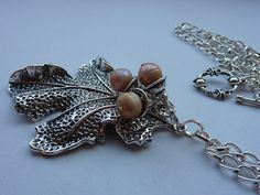 Mighty Silver Oakleaf Necklace with Freshwater Pearl 'acorns'. £18.00, via Etsy.