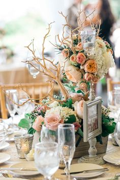 Simple details go a long way when it comes to wedding décor. A small splash of color in an otherwise ivory palette creates a very specific mood and feel to the… Floral Centerpieces, Wedding Centerpieces, Floral Arrangements, Centrepieces, Chic Wedding, Rustic Wedding, Shabby Chic Theme, Wedding Day Inspiration, Wedding Ideas