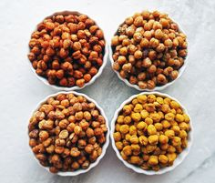 Four bowls of crunchy, oven-roasted chickpeas.
