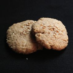 """Vegan Sesame Coconut Cookies.  I might try these even though they are the """"V"""" word."""