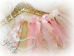 Kryssi Kouture Exclusive HANDMADE - Pink & Gold Baby Girl Rag Tutu - First Birthday Tutu - Gold Tutu - Special Occasion
