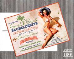 Beach Destination Vintage Pin Up Girl by invitationsandprints, $14.99