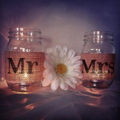 Creme Burlap Wedding Mr and Mrs Mason Jar by DownInTheBoondocks