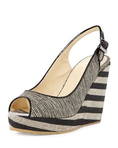 648a6ddfc5eb Jimmy Choo Prova Striped Slingback Wedge Sandal