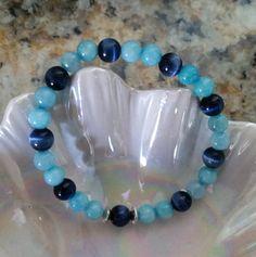 Sapphire Blue Cats Eye, Agua Blue Jade, Silver Spacer, Beaded Stretchy Bracelet by MamaPajamaJan on Etsy