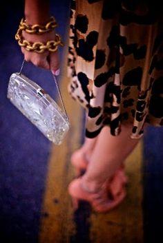 Animal print, lucite purse, gold chain