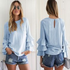 Buy Femme Automne Flounce manches longues Casual vrac Keyhole Ladies Tops T-shirt Blouse at Wish - Shopping Made Fun Plus Size Blouses, Plus Size Tops, How To Fold Sleeves, Shirt Blouses, T Shirt, Casual Tops, Casual Shirt, Bell Sleeves, Teen Fashion