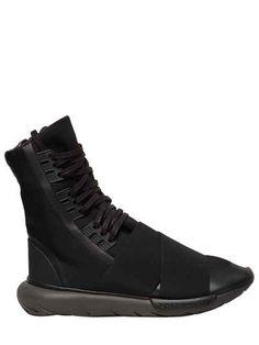 Y-3 QASA BOOT NYLON HIGH TOP SNEAKERS. #y-3 #shoes #