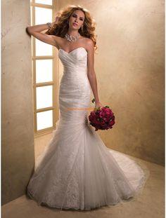 Maggie Sottero Meerjungfrau Lange Schöne Brautkleider aus Softnetz mit Applikation