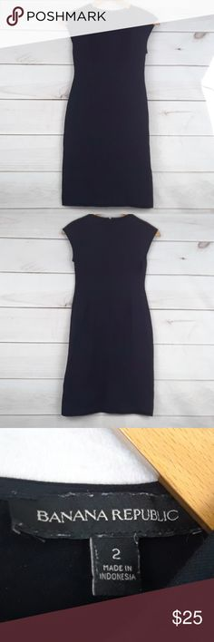 Banana Republic black dress Size 2 Nice banana republic black dress size 2. A little stretchy, I would say it's more of a size 4 fit. 37 inches from shoulder to bottom of dress Banana Republic Dresses