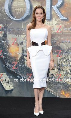 Angelina Jolie White  Prom Dress Celebs Dresses 'WORLD WAR Z' Germany Premiere Formal Dress.prom dresses,formal dresses,ball gown,homecoming dresses,party dress,evening dresses,sequin dresses,cocktail dresses,graduation dresses,formal gowns,prom gown,evening gown