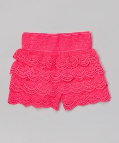 Another great find on #zulily! Pink Lace Tiered Shorts - Girls by Gi Gi Girl #zulilyfinds