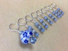 Handmade Beaded Knitting Stitch Markers (SNAG FREE)- Blue Floral #JillsBeadedTreasuresandKnittingDreams