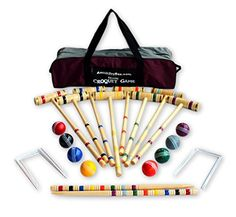 8-Player Deluxe Amish Crafted Croquet Game Set with Carry...