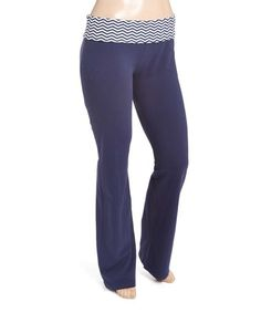 Loving this Black & Navy Chevron-Accent Yoga Pants - Plus on #zulily! #zulilyfinds