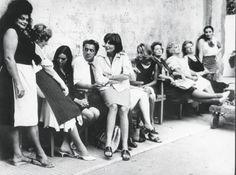 Federico Fellini and actress on the set Otto e mezzo