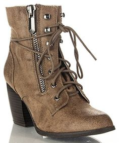 ROF Women's Vegan Round Toe Stacked Lace Up Ankle Heel Booties #womens…