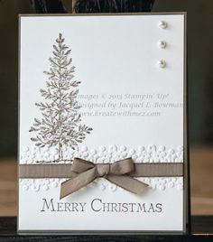 Supplies: Lovely As A Tree & Many Merry Messages Stamp Sets; Soft Suede & Very Vanilla Card Stock; Soft Suede & Early Espresso Ink; Big Shot; Delicate Designs Embossing Folder; Soft Suede Taffet