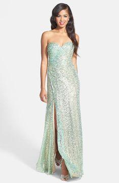 04e68e8f719 La Femme Fashion Strapless Sequin Gown Aqua Gold SIZE 4  4 NWT