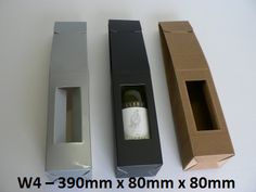 W4 – Single Wine Pack – 390mm x 80mm x 80mm  An upright single wine pack with opening for label and front top tab closure.
