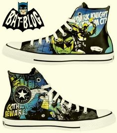 DC Comics announced recently that they have teamed-up with Converse Shoes to bring a new series of sneakers with graphics of their comic b. Batman Converse, Batman Shoes, Cool Converse, Outfits With Converse, Converse Sneakers, Converse All Star, Converse High, Sneakers Mode, Sneakers Fashion