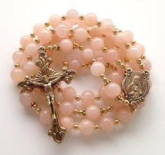 Pink Aventurine Rosary, Sacred Heart of Jesus, Catholic Rosary, Natural Pink Aventurine, Antiqued Gold Crucifix, Handmade Rosary on Etsy, $60.00