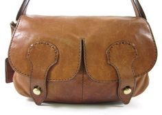 TOD'S Brown Leather Double Pocket Hobo Shoulder Handbag at www.ShopLindasStuff.com