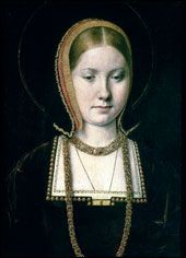 Catherine of Aragon, daughter of Ferdinand and Isabella of Spain, born on the 15th or 16th of December 1485. Catherine departed Spain to arrive in England in October of 1501, to marry Arthur Prince of Wales. The ceremony took place the 14th of November. Arthur died in April of 1502.  Catherine married Henry VII.'s second son, now Heir to the throne, who would become Henry VIII. Married 1509 - 1533-Divorced