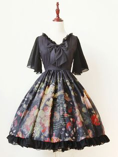 Gothic Lolita Dress OP The Girl Picking Up Flowers Printed Bow Silk V-neck Butterfly Sleeve Lolita One Piece Dress