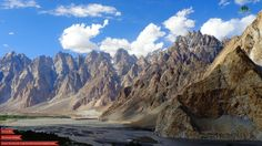 The Cathedral Ridge viewed from the Karakoram Highway near the village of Passu, Upper Hunza valley, Northern Areas of Pakistan