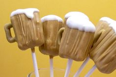 Beer Shaped Cake Pops! Cute for man's birthday or beer swap party! Could make a chocolate Guinness cake for filling!!