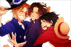 Tags: Fanart, ONE PIECE, Monkey D. Luffy, Portgas D. Ace, Pixiv, Sabo, Fanart From Pixiv, Wang Tai, ASL