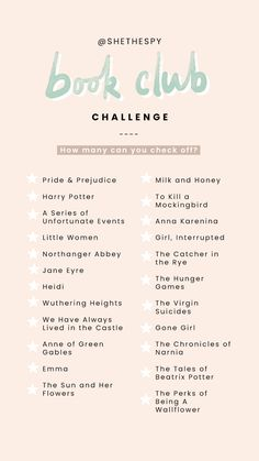 Book Club Challenge i have literally read everything on this list but 3 I Love Books, Good Books, My Books, Books To Read In Your 20s, Book Challenge, Reading Challenge, Reading Lists, Book Lists, Instagram Story Template