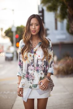 Haute Hippie Floral Shirt findersKEEPERS Skirt Neutral prints and textures | Song of Style