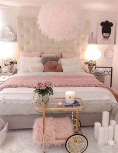 May 2020 - 35 Lovely Romantic Bedroom Ideas Perfect For Valentine - Bedroom is your private nest or hideout and if there is a place that should be as comfortable as possible then, it is your bedroom. No passengers, no . Pink Bedroom Design, Pink Bedroom Decor, Teen Bedroom Designs, Pink Bedrooms, Cute Bedroom Ideas, Cute Room Decor, White Bedroom, Bedroom Inspo, Bedroom Decor Ideas For Teen Girls