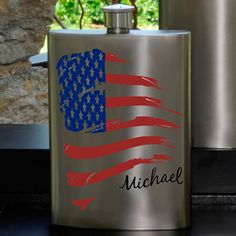 Unique personalized American flag flask for men. This custom patriotic flask will make a great gift for groomsmen or a special friend. Personalized Housewarming Gifts, Unique Gifts For Men, Man Party, Anniversary Gifts For Him, Gifts For Husband, Groomsman Gifts, Boyfriend Gifts, American Flag, American Pride