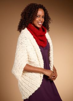 {For Mom}    Free Crochet Pattern: Simply Shrug  Yarn: Lion Brand® Silky Twist (super-bulky weight boucle) Pattern takes (5)5.00 oz./140 g (130 yd/119 m)   SKILL LEVEL:  Easy      SIZE: One Size   About 42 x 38 (106.5 x 96.5), before folding and seaming.