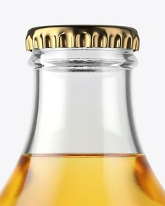 Clear Glass Bottle with Lager Beer Mockup Close-Up