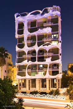 "The ""Crazy House"" in Tel Aviv at the night photo by Kaśka Sikora  #TelAviv #architecture #Israel #Gaudi"