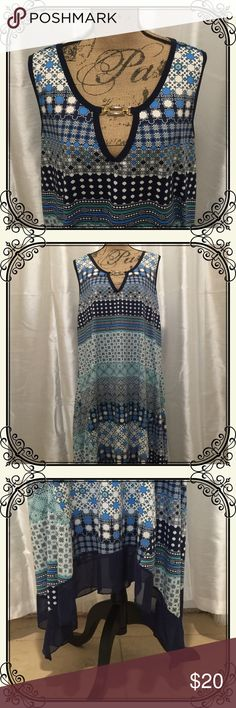Boho dress with handkerchief hem with silver clasp Boho style blue patterned sleeveless dress with metal clasp and chiffon handkerchief hem. Cool and comfy! Espresso Dresses Asymmetrical