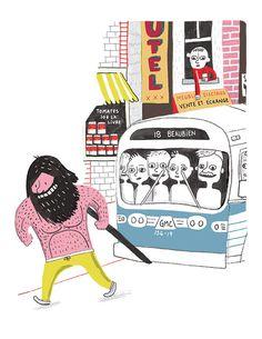 Le Grand Antonio et l'autobus, a signed art print by Elise Gravel Elise Gravel, Pet Monsters, City Scene, Character Design Animation, Chapter Books, Jaba, Childrens Books, Illustrators, Art Gallery