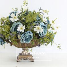 LAMOME纳茉花艺/法式/蓝玫瑰/欧式古典花器/高仿真成品花艺/样板房会所专供-淘宝网