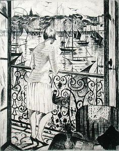 """The Balcony"" by Eric Ravilious, c.1920s (etching)"