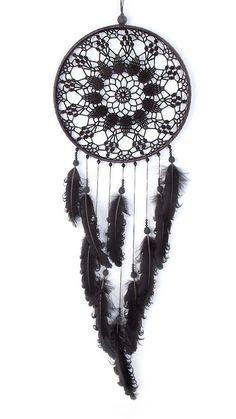 Large Black Dream Catcher Crochet Doily por DreamcatchersUA en Etsy