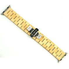New Bamboo Wooden Watchband for Apple Watch Butterfly Buckle Strap
